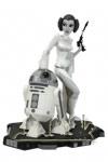 Princess Leia und R2-D2 schwarz weiß